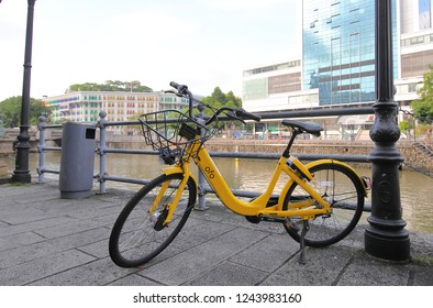 SINGAPORE - NOVEMBER 18, 2018: OFO Bicycle share system in Singapore