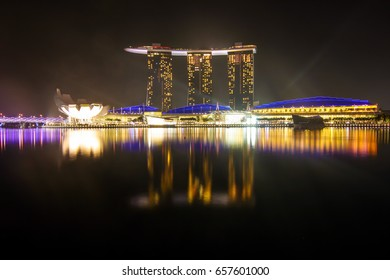 SINGAPORE - NOVEMBER 20, 2012 - Marina Bay Sand at night with colorful lighting