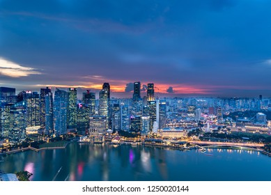 Singapore, Singapore - November 20, 2018:Sunset View of the Singapore Skyline from the Marina Bay Sands Hotel, on November 20, 2018 in Singapore
