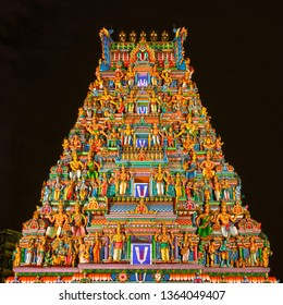 Singapore / Singapore - November  2018: Decorations of Sri Srinivasa Perumal Temple. This temple is one of the oldest Hindu temple in Singapore.