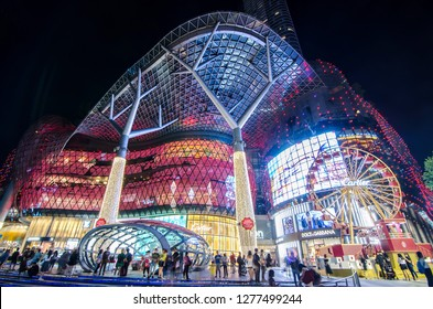 SINGAPORE - NOVEMBER 23, 2018: Light and attraction in front of Ion Mall orchard and Unidentified people visit ION Orchard shopping mall in Orchard road Singapore.