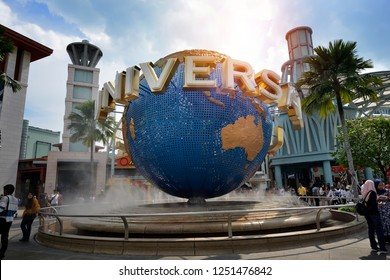SINGAPORE - NOVEMBER 24, 2018: Daytime of rotating globe fountain in Universal Studios on November 24, 2018 at Singapore Resorts World Sentosa.