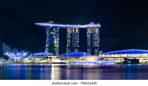Singapore, Singapore- November 25 2017: Merlion Park viewpoint is the best place to see one of the most famous hotels in Singapore Marina Bay Sands.