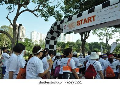 SINGAPORE - NOVEMBER 27: HNF (HOME NURSING FOUNDATION) Charity Walkathon at East Coast Park November 27, 2010 in Singapore.