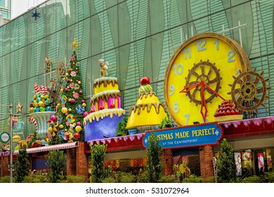 SINGAPORE - NOVEMBER 29, 2016: Christmas Decoration at Singapore Orchard Road. The street with christmas trees, baubles, ball, star & dressed-up shopping centres. Theme of this year is Spread the Joy.