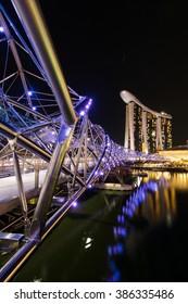 Singapore - November 3,2013 : Marina bay sands and Helix Bridge singapore travel landmark