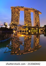 SINGAPORE - NOVEMBER 4, 2013: View of Marina Bay Sands from Butterfly Lake Garden, designed by Moshe Safdie, the integrated resort casino and shopping center in Singapore.