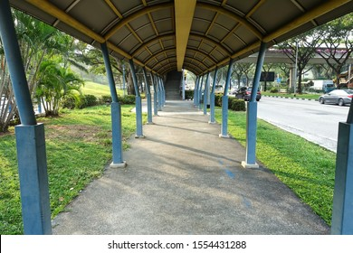 SINGAPORE - NOVEMBER 4, 2019: Day view of Singapore HDB area shelter walkway corridor.