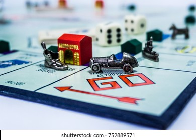 Singapore - November 7, 2017:  Monopoly Board Game close up with the car passing the GO. The classic real estate trading game from Parker Brothers was first introduced to America in 1935.