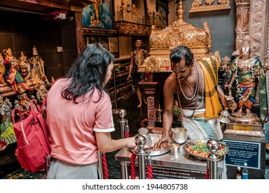 SINGAPORE - NOVEMBER 9, 2019 : Sri Krishnan Temple was established on Waterloo Street in 1870. It is the only South Indian Hindu temple in Singapore.
