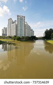 Singapore - Oct 13 : Public housing along river bank taken in the day of Oct 13, 2017.
