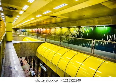 Singapore - Oct 19, 2018: Beautiful view of Toa Payoh MRT station. It is an underground Mass Rapid Transit (MRT) station on the North South Line in Toa Payoh, Singapore.