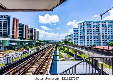 Singapore - Oct 19, 2018: A view of the MRT tracks at Yishun MRT station.
