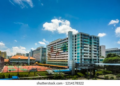 Singapore - Oct 19, 2018: A view of HDB apartments in Katib Central just opposite Katib MRT station, Yishun, Singapore.