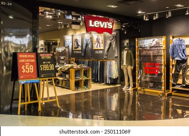 SINGAPORE - OCT 19 : Levi's Store at ION Orchard shopping mall on October 19, 2014. Levi Strauss is an American clothing company best known for its brand of denim jeans.