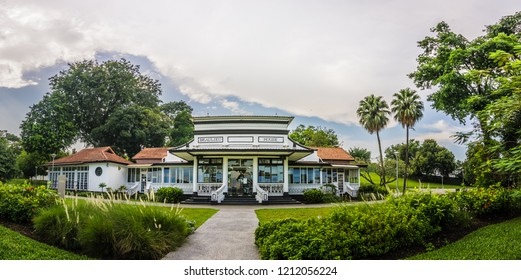 Singapore - Oct 20, 2018: Beaulieu House, built sometime in the 1910s, is located at Sembawang Park in Singapore, overlooking the Straits of Johor.