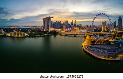 Singapore, Singapore Oct 21/2019 Marina bay in blue hour