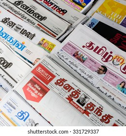 SINGAPORE â?? OCT 26, 2015: Close-up, full frame view of Indian magazines on display at the roadside of Little India in Singapore