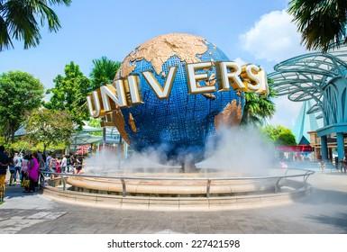 SINGAPORE - OCT, 28 UNIVERSAL STUDIOS SINGAPORE sign on October 28,2014. Universal Studios Singapore is a theme park located within Resorts World Sentosa on Sentosa Island, Singapore