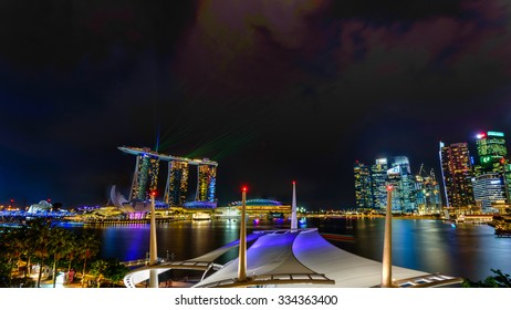 SINGAPORE â?? OCT 29, 2015: Esplanade Outdoor Theatre roof on Marina Bay at sunset. This area hosts a diverse range of performances from music to dance and theatre. ArtScience, Marina Bay Sands, CBD