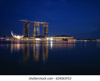 SINGAPORE - Oct 29, 2016: Night scene at Marina Bay Sands.
