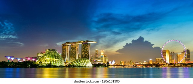 Singapore - Oct 3,2018 :Vibrant color panorama background of Singapore skyline view of skyscrapers on Marina Bay
