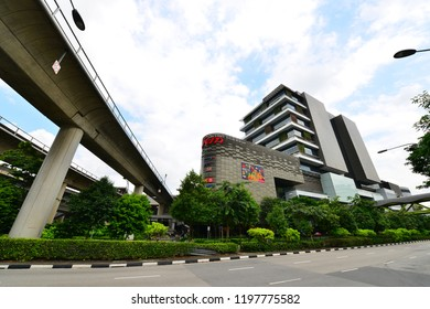 SINGAPORE - OCT 8: Day view of Jem shopping mall on Oct 8, 2018 in Jurong East. Singapore. Jem is the first lifestyle hub with integration of shopping, entertainment & residential.