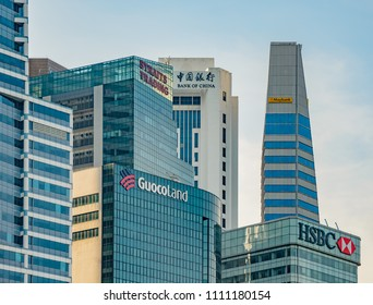 SINGAPORE - OCTOBER 09, 2016: Towerblocks of international companies in the central business district in Singapore.