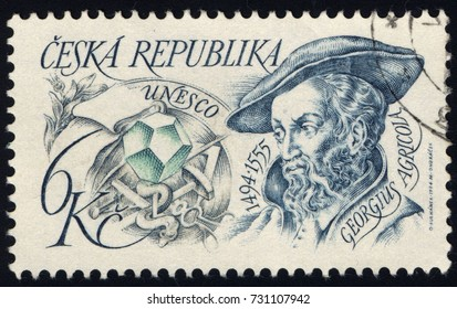 SINGAPORE - OCTOBER 10, 2017:A stamp printed in Czechoslovakia shows Georgius Agricola (1494-1555), better known as Agricola, circa 1994