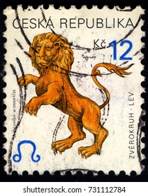 SINGAPORE - OCTOBER 10, 2017:A stamp printed in Czechoslovakia shows horoscope sign leo, circa 2001