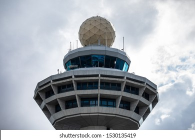 Singapore - October 11 2019: The control tower of Singapore Changi Airport as seen from the Crowne Plaza Hotel next to the Jewel