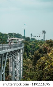 Singapore, October 13, 2017: Fort Siloso Skywalk - 181 meters long Skywalk trail provides guests a scenic trek among the treetops en route to Fort Siloso. (Process in HDR)