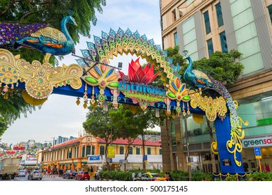 Singapore, Singapore - October 14, 2016: Day view of Deepavali decorations in Little India, Singapore. Deepavali, popularly known as the festival of lights.