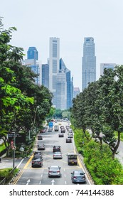 Singapore, October 14, 2017: Cityscape from Nicoll highway show cars, trees and traffic with the limited road space available in the morning with building in background. (Process in HDR style)