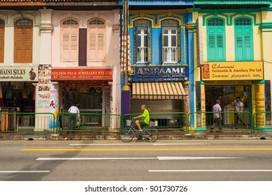 Singapore, Singapore - October 15, 2016 : Ancient house at Little India district in Singapore. Little India is Singaporean neighbourhood east of the Singapore River