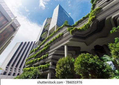Singapore, Singapore - October 15, 2017: Green nature facade of Parkroyal on Pickering hotel building in Singapore city