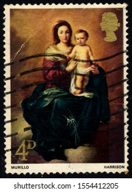 SINGAPORE – OCTOBER 15, 2019: A stamp printed in the United Kingdom shows Madonna and Child by Murillo, circa 1968