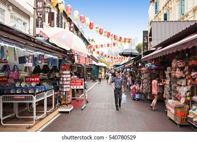 SINGAPORE - OCTOBER 16, 2014: Singapore Chinatown is an ethnic neighbourhood featuring distinctly Chinese cultural elements and a  