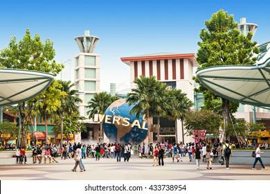 SINGAPORE - OCTOBER 17, 2014: Universal Studios Singapore is a theme park located within Resorts World Sentosa on Sentosa Island, Singapore.