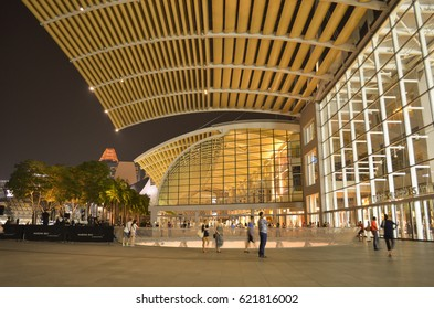 Singapore - October 17, 2015 : Outside of the Shopping area in Marina Bay Sands hotel.