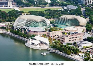SINGAPORE - OCTOBER 18, 2014:  Esplanade - Theatres on the Bay is a performing arts center located in Marina Bay near the mouth of the 