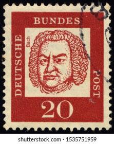 SINGAPORE - OCTOBER 19, 2019: A stamp printed in German Federal Republic shows portrait of Johann Sebastian Bach, circa 1961