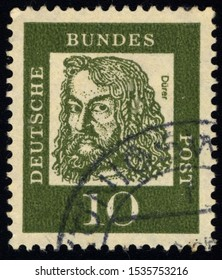SINGAPORE - OCTOBER 19, 2019: A stamp printed in Germany shows image of Albrecht Durer was a German painter, printmaker, engraver, mathematician, and theorist from Nuremberg, circa 1961.