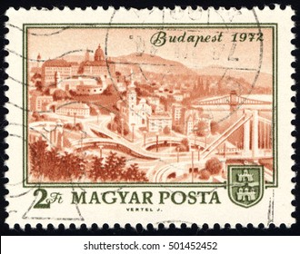 SINGAPORE ?? OCTOBER 20, 2016: A stamp printed in Hungary shows View of Budapest, 1972, with the same inscription, from the series Centenary of Unification of Buda, Obuda & Pest as Budapest, circa 1972