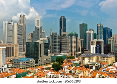 SINGAPORE - OCTOBER 20: Aerial view of Chinatown and Central Business District on October 20, 2012. Singapore is one of East Asia's fastest financially growing city.
