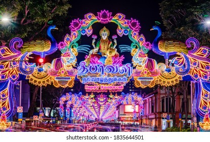 Singapore - October 2020: Street light-up in celebration of Deepavali or Diwali in Serangoon Road, Little India.