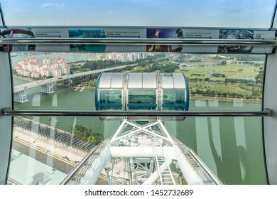 Singapore - October 20th 2015: View from an observation capsule on the Singapore Flyer, which is a giant observation wheel, with views over the Singapore Strait in Downtown Core, Singapore, Asia