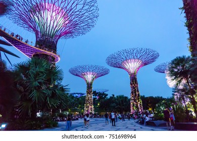 Singapore. October 21, 2017. super tree grove is illuminate for light show in garden by the bay at night.