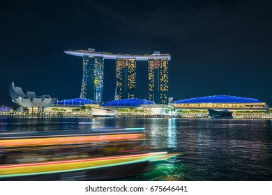 SINGAPORE - October 23, 2016 : Light show in Marina Bay Sand., Singapore Marina Bay cityscape.