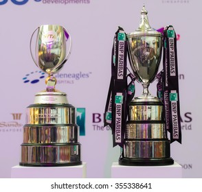 SINGAPORE, SINGAPORE - OCTOBER 23 :  The winner trophies on display at the at the 2015 WTA Finals  draw ceremony